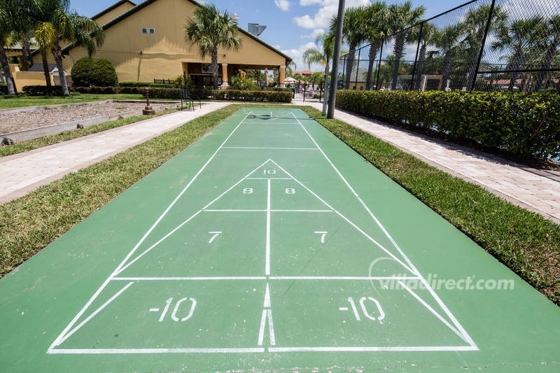 The shuffleboard court at Paradise Palms