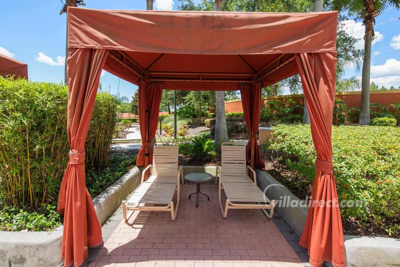 Poolside cabanas at Solana Resort