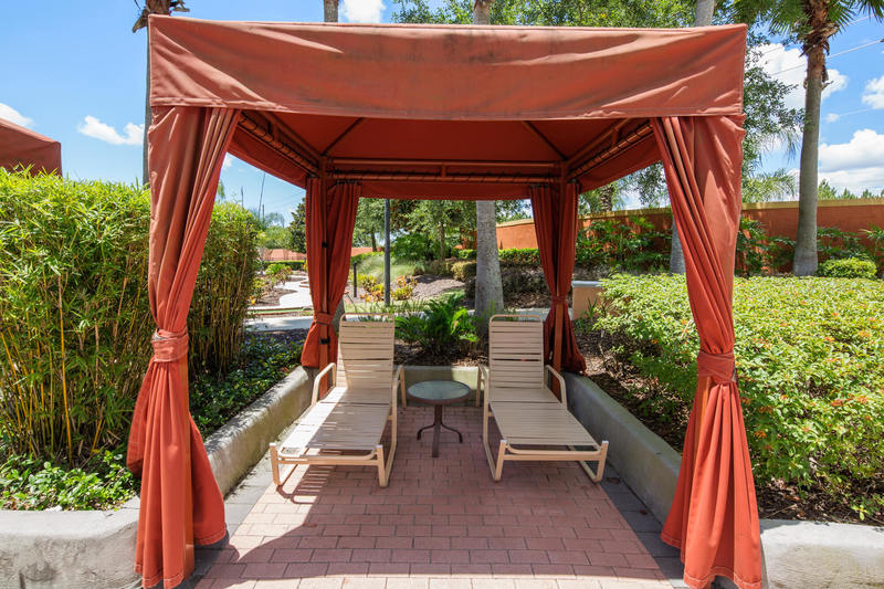 Poolside cabanas at Solana Resort
