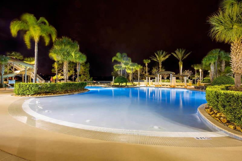 The lagoon pool at night